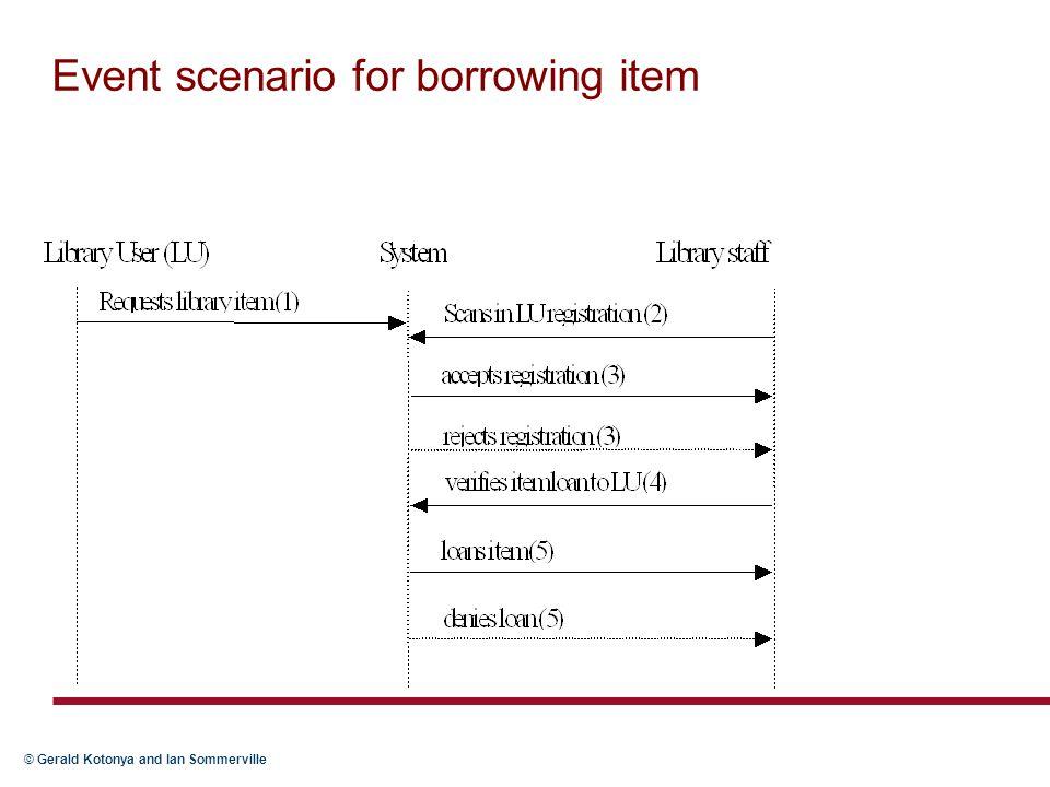 Event scenario for borrowing item
