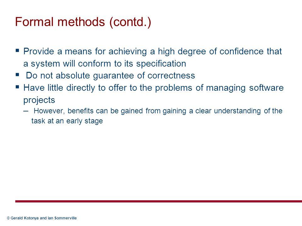 Formal methods (contd.)