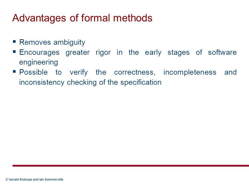 Advantages of formal methods