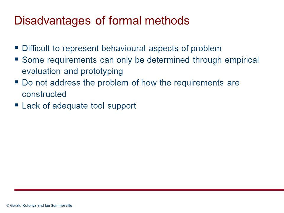 Disadvantages of formal methods