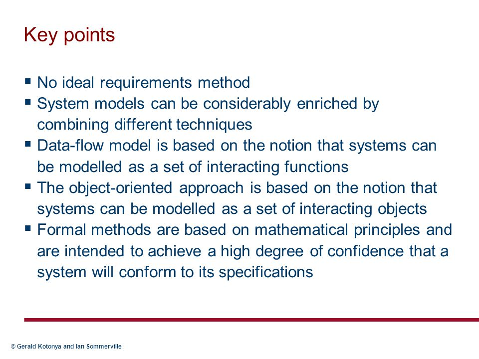 Key points No ideal requirements method