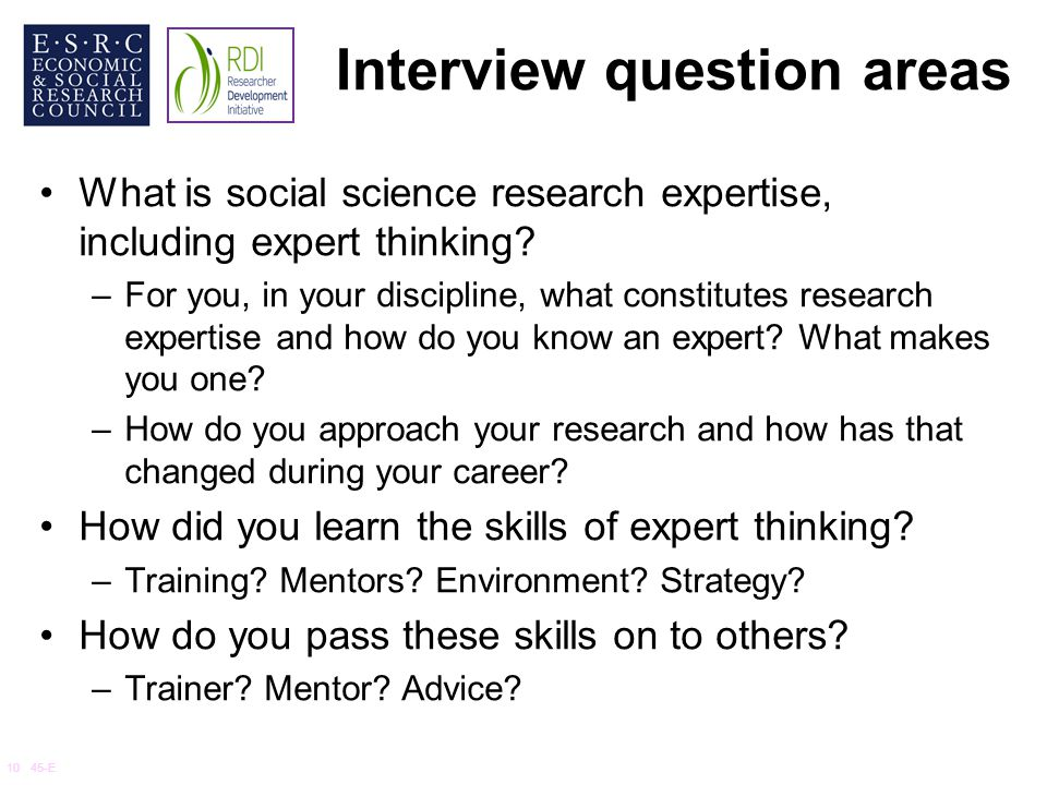 Interview question areas