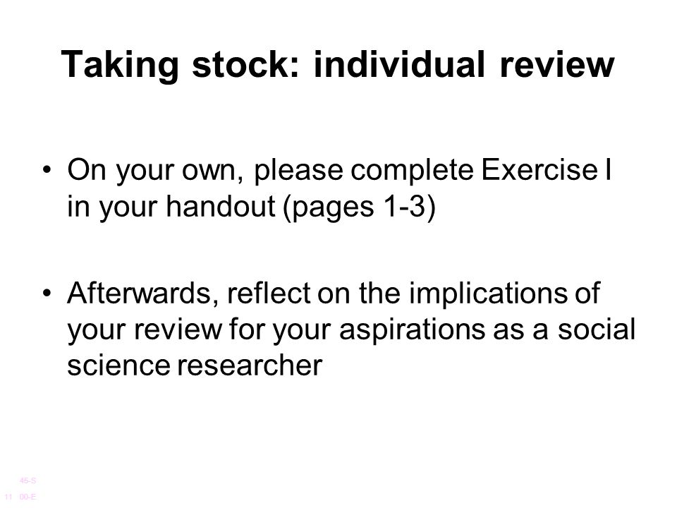 Taking stock: individual review
