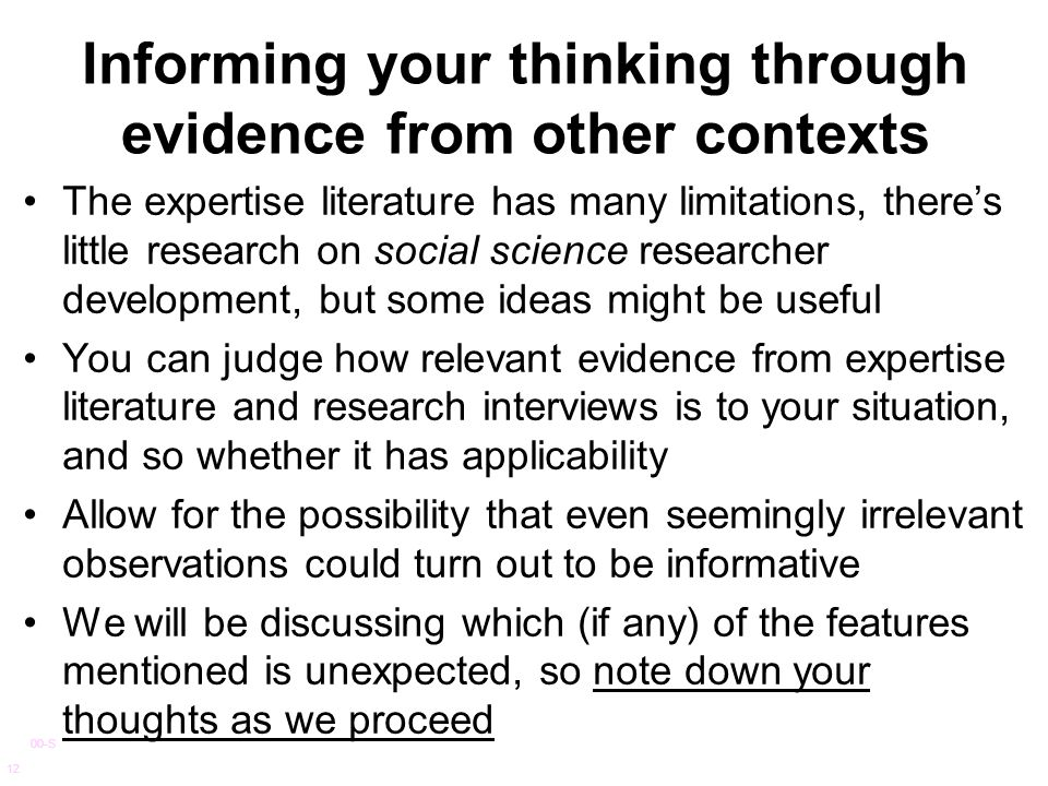 Informing your thinking through evidence from other contexts