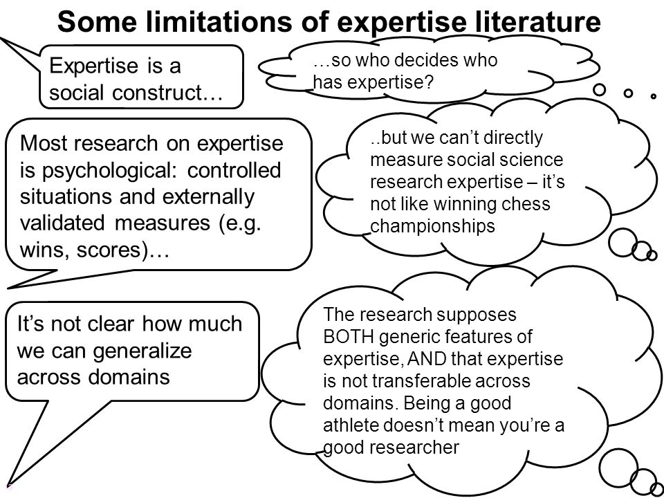 Some limitations of expertise literature