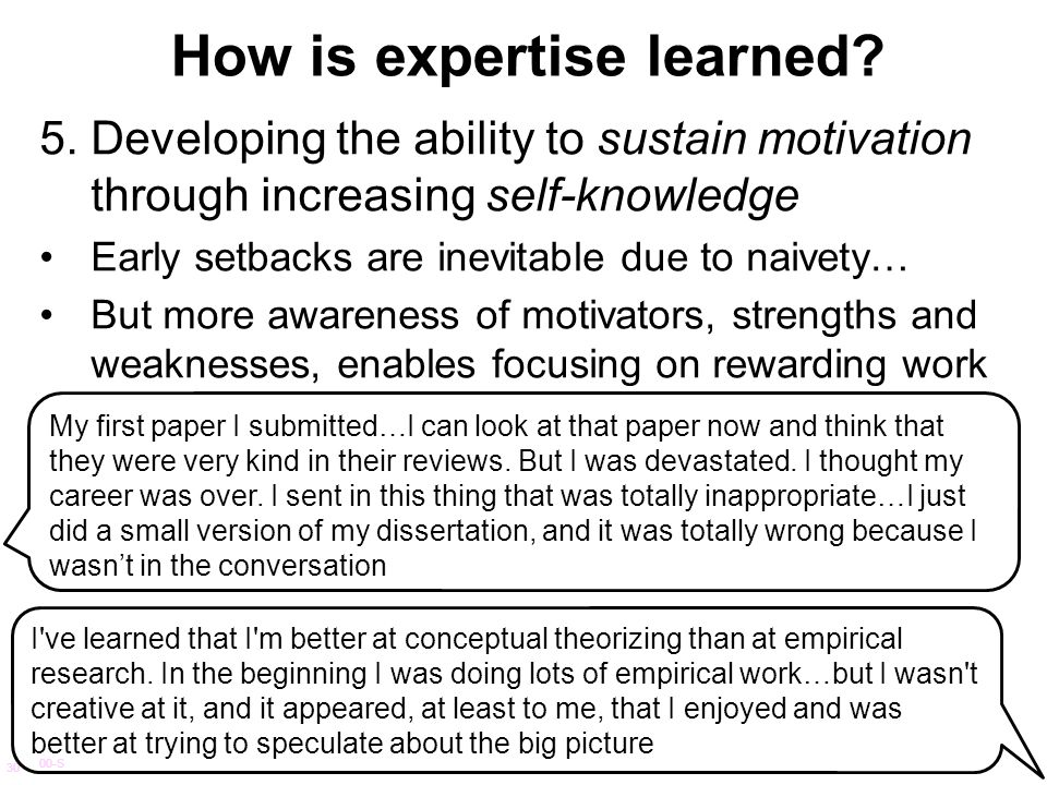 How is expertise learned