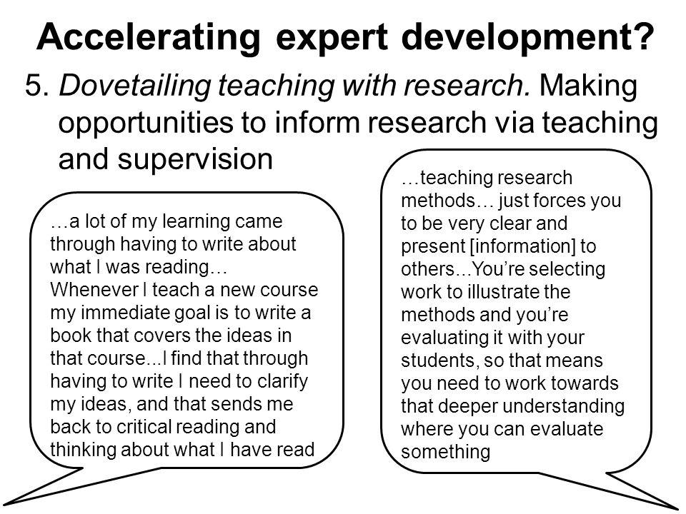 Accelerating expert development