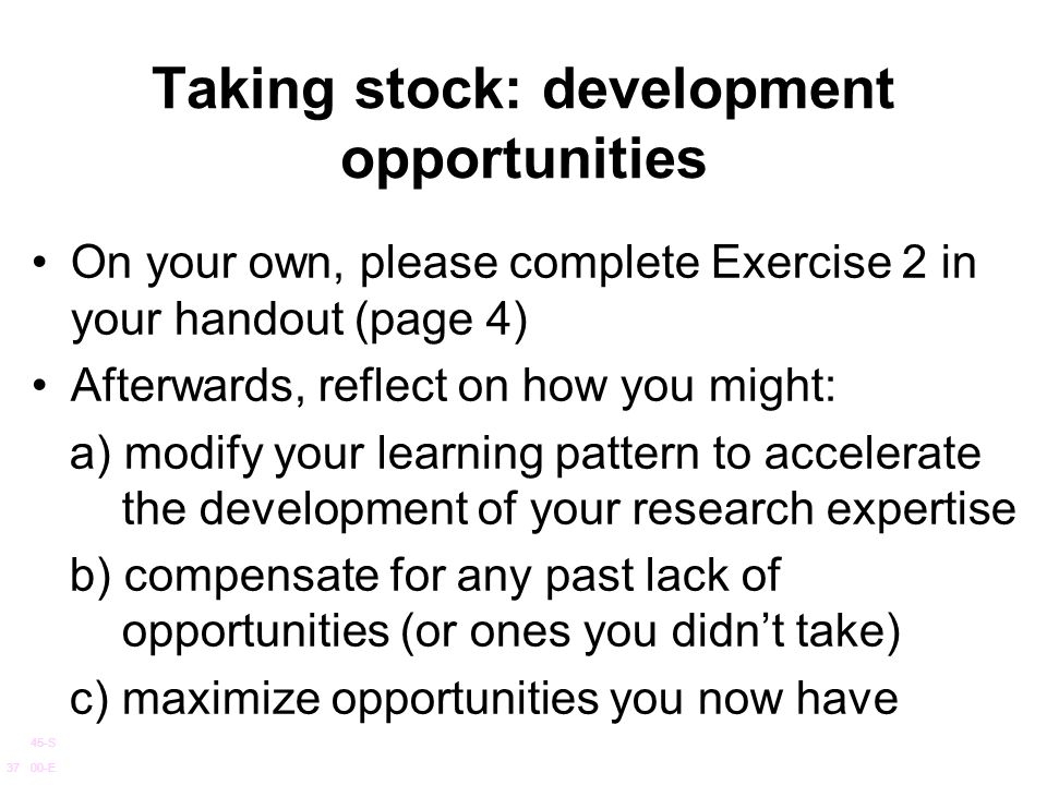 Taking stock: development opportunities