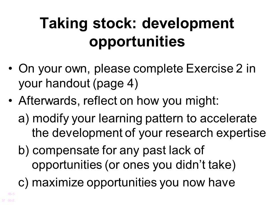 Taking stock: development opportunities