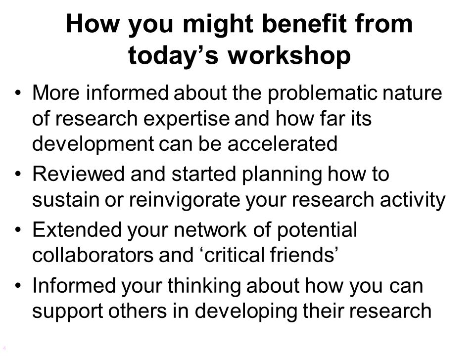 How you might benefit from today's workshop