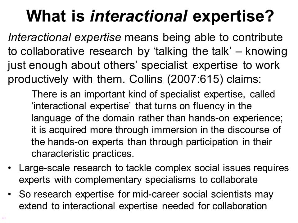 What is interactional expertise