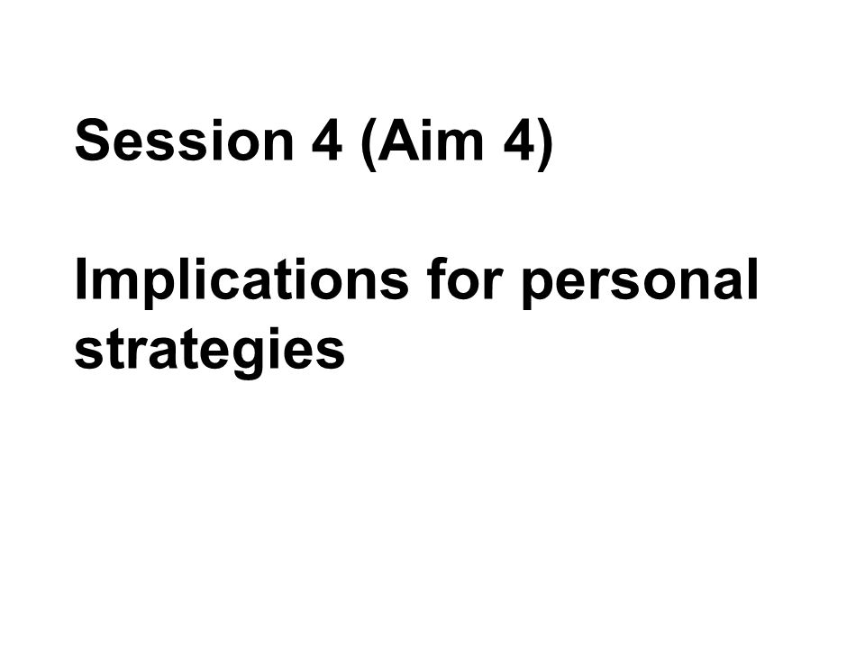 Session 4 (Aim 4) Implications for personal strategies