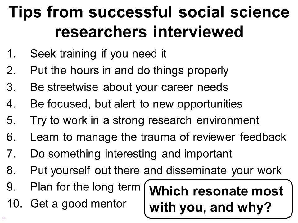 Tips from successful social science researchers interviewed