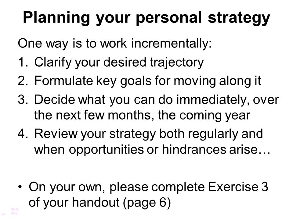Planning your personal strategy