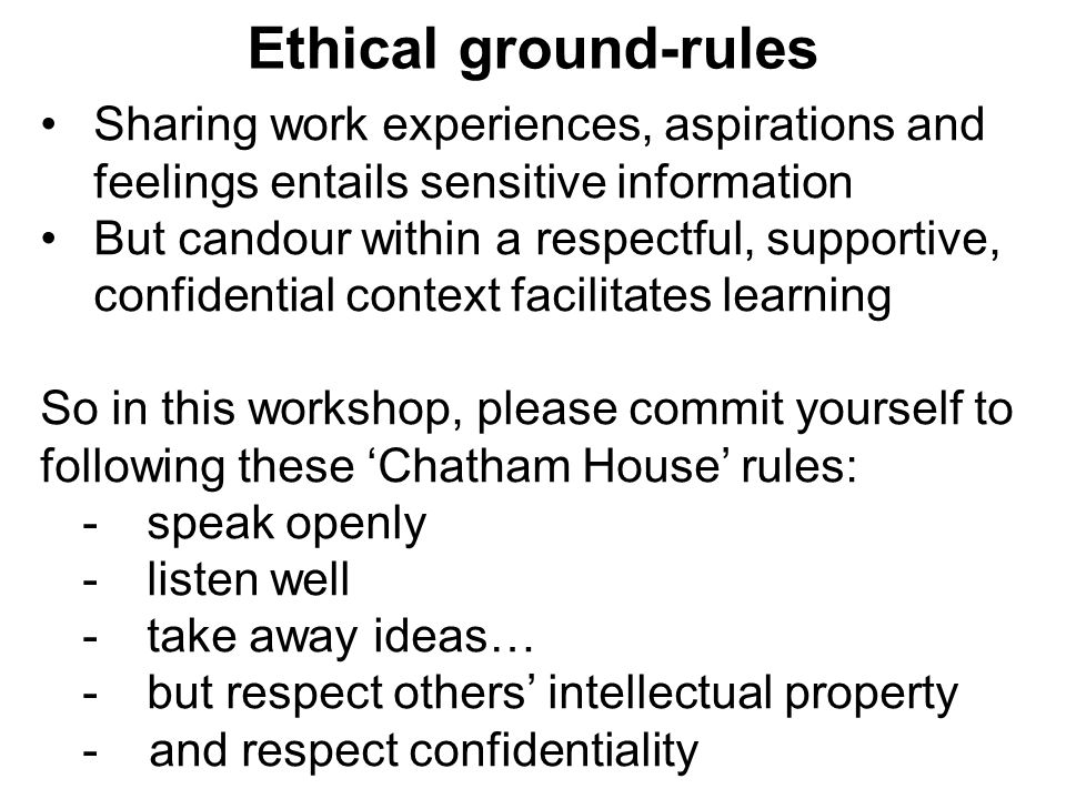 Ethical ground-rules Sharing work experiences, aspirations and feelings entails sensitive information.