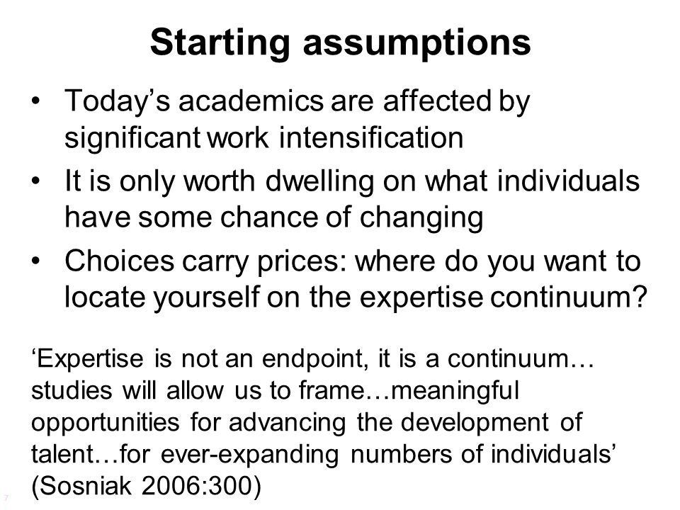 Starting assumptions Today's academics are affected by significant work intensification.
