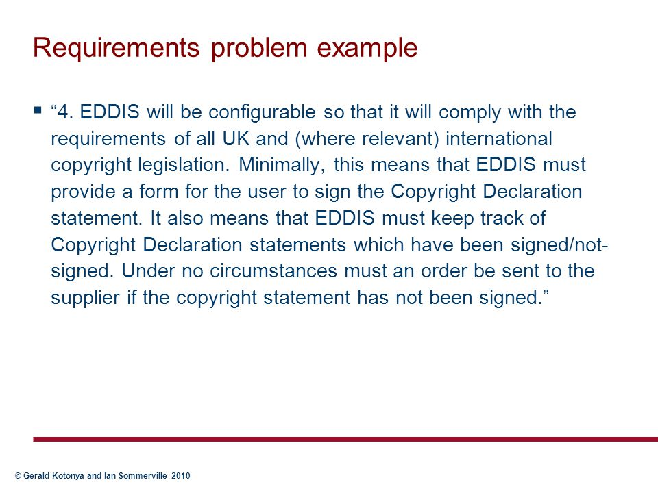 Requirements problem example