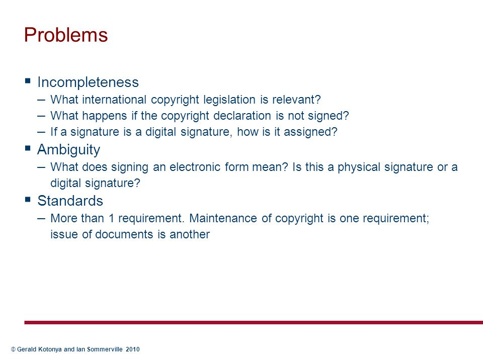 Problems Incompleteness Ambiguity Standards