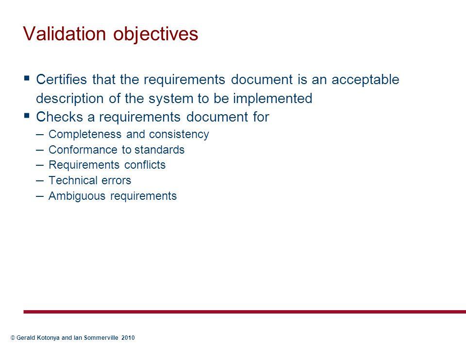 Validation objectives