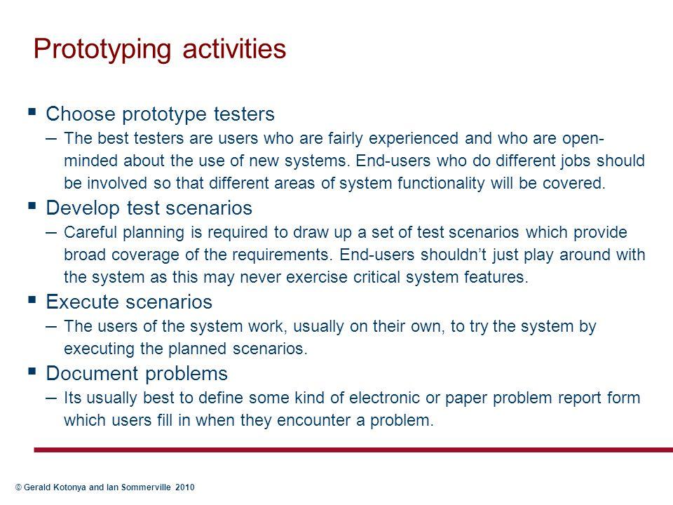Prototyping activities