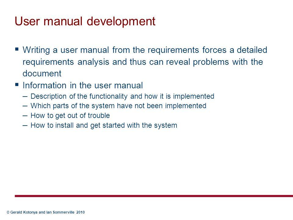 User manual development