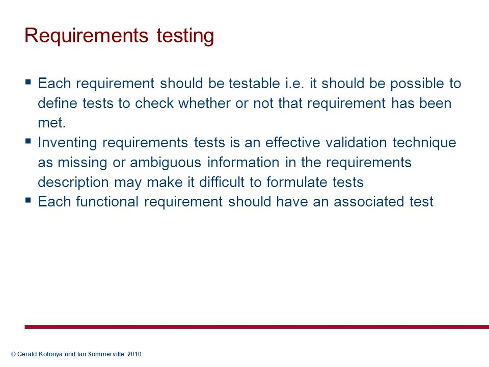 Requirements testing