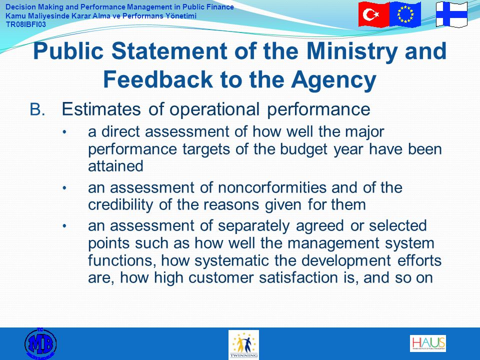 Public Statement of the Ministry and Feedback to the Agency