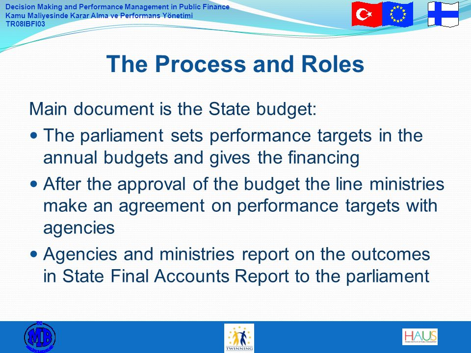The Process and Roles Main document is the State budget: