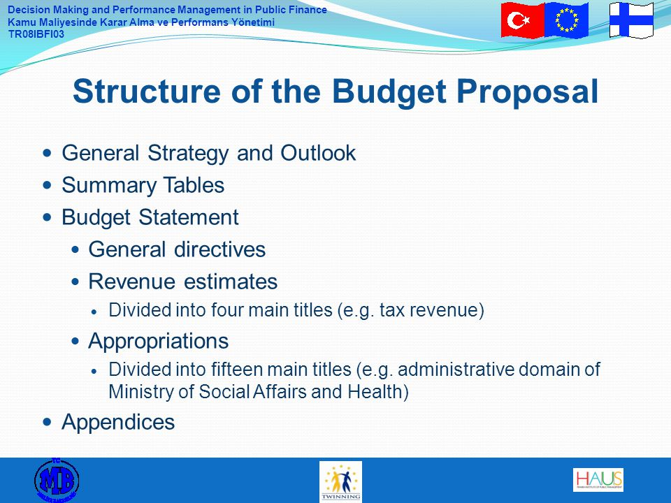Structure of the Budget Proposal