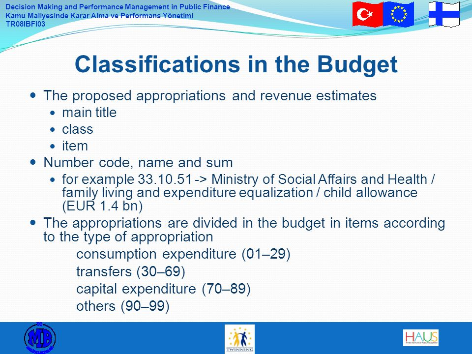 Classifications in the Budget