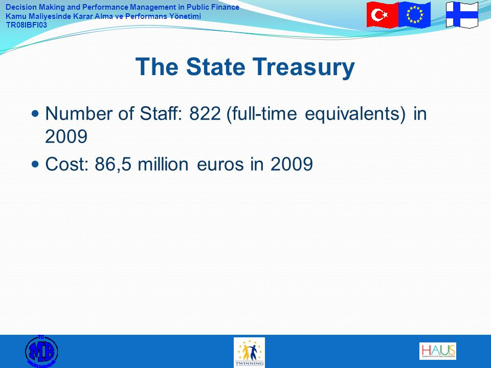 The State Treasury Number of Staff: 822 (full-time equivalents) in 2009.