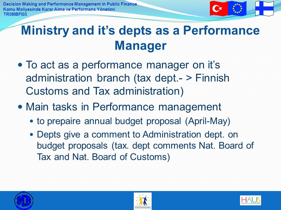 Ministry and it's depts as a Performance Manager
