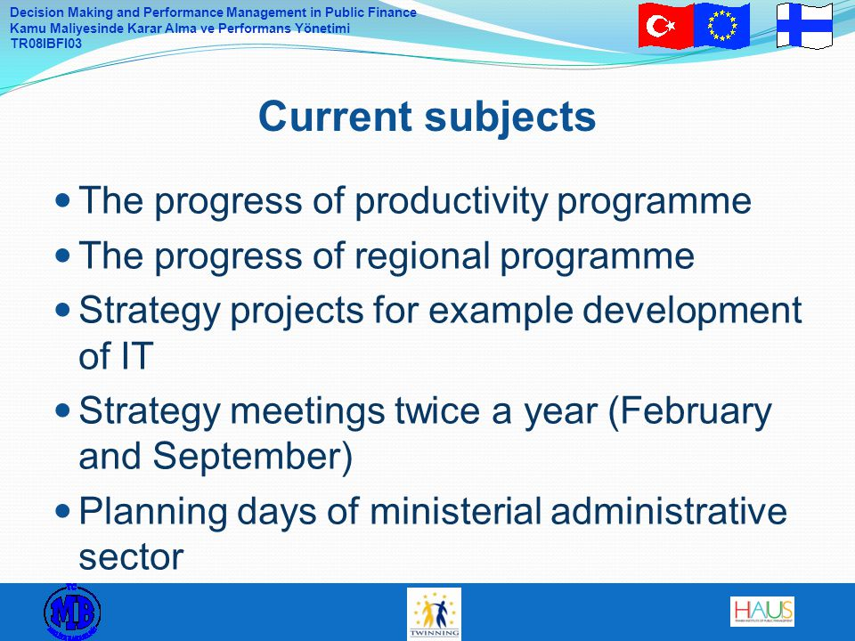 Current subjects The progress of productivity programme