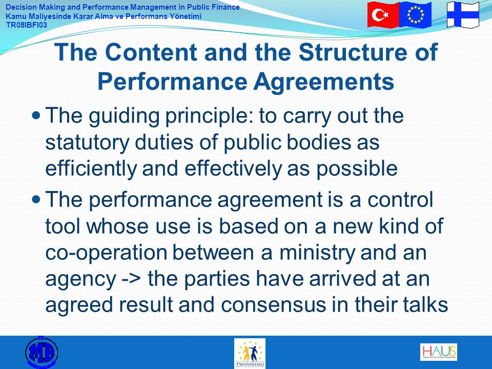 The Content and the Structure of Performance Agreements