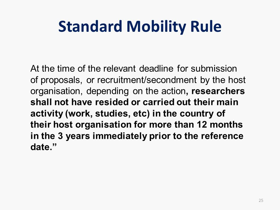 Standard Mobility Rule