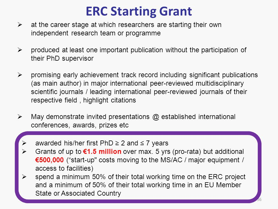 ERC Starting Grant at the career stage at which researchers are starting their own independent research team or programme.