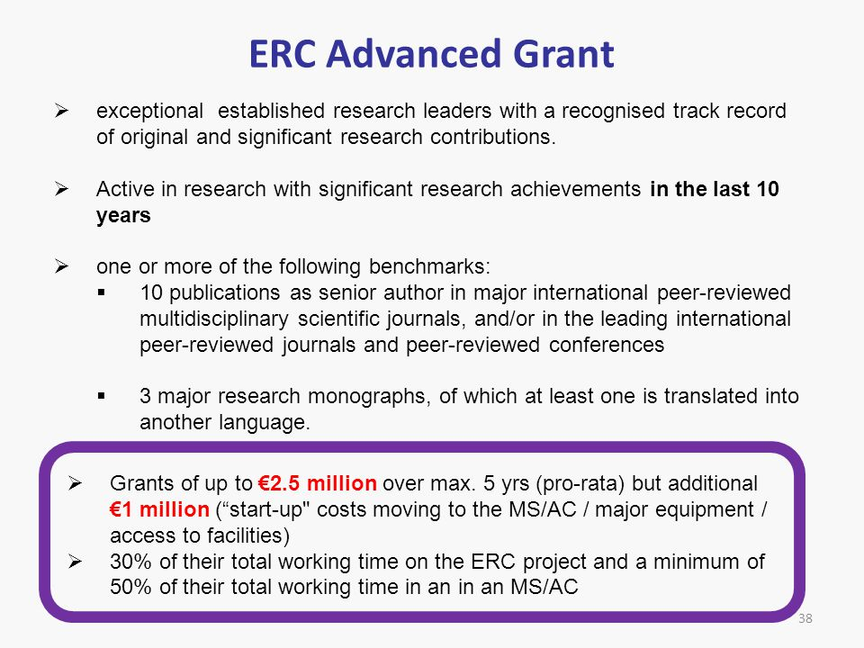 ERC Advanced Grant exceptional established research leaders with a recognised track record of original and significant research contributions.