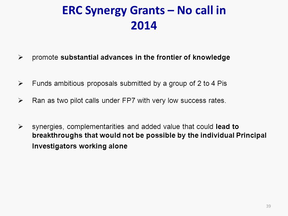 ERC Synergy Grants – No call in 2014