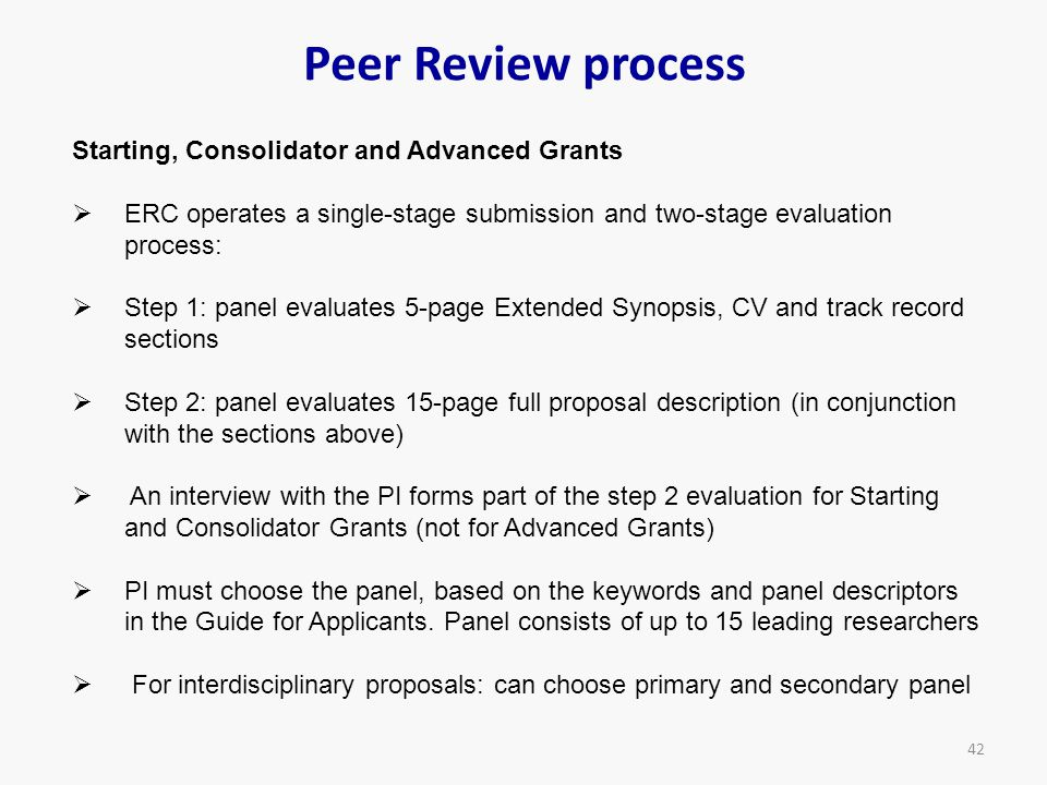 Peer Review process Starting, Consolidator and Advanced Grants