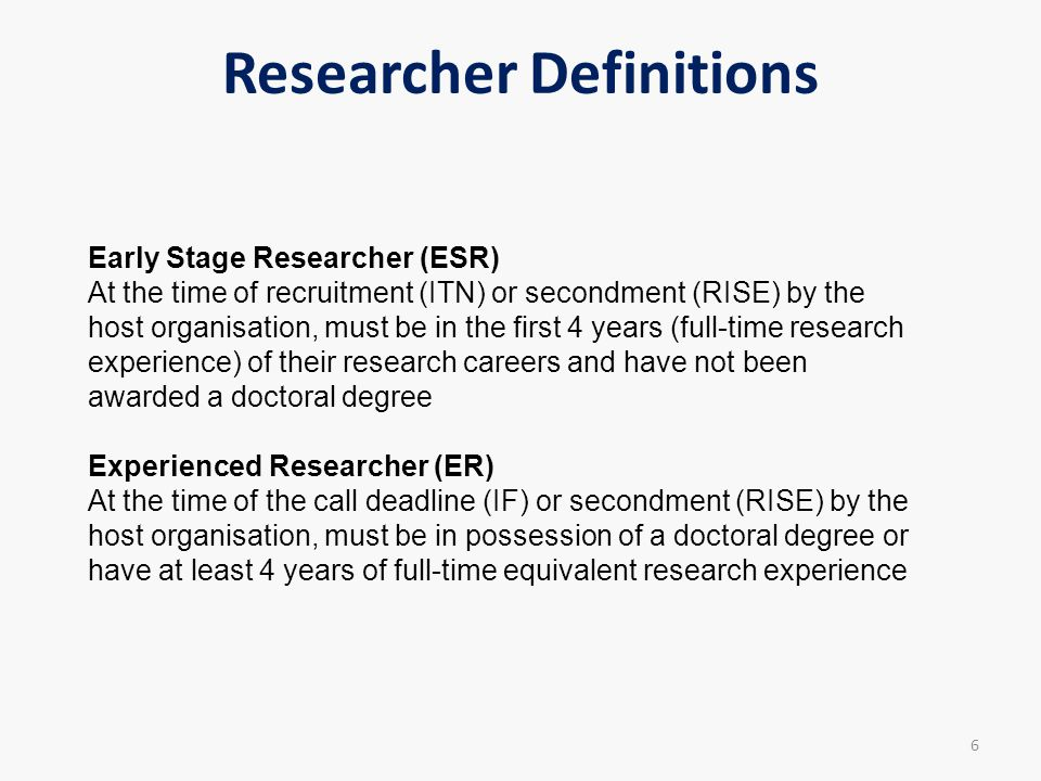 Researcher Definitions