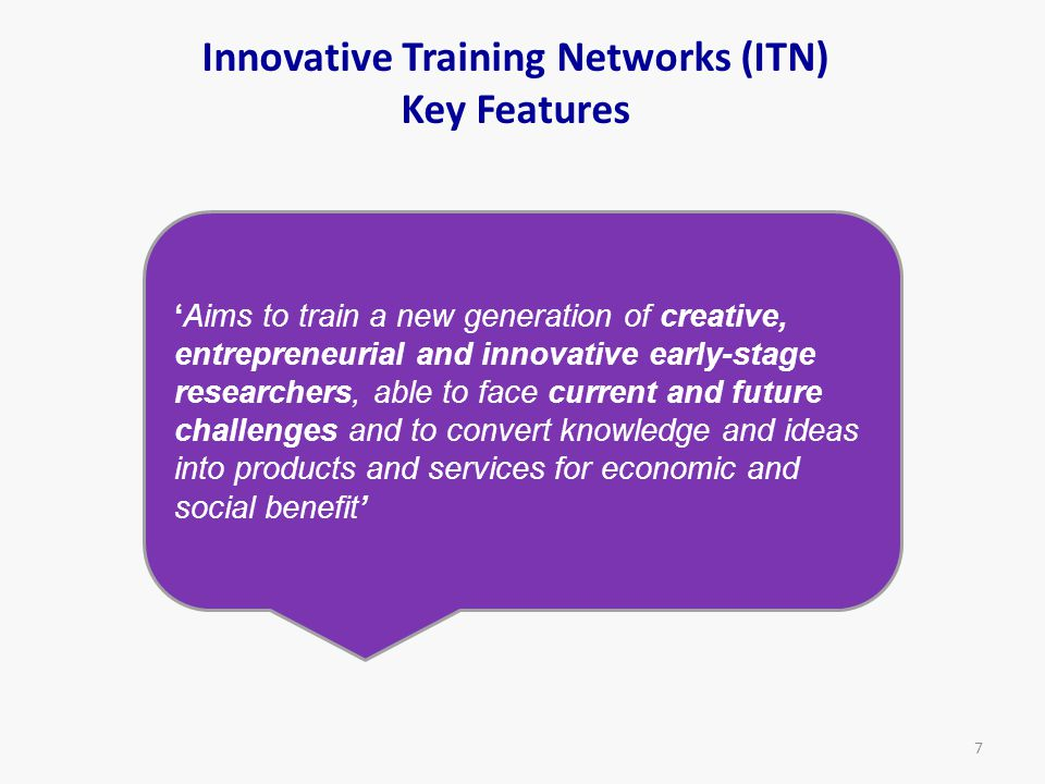 Innovative Training Networks (ITN) Key Features