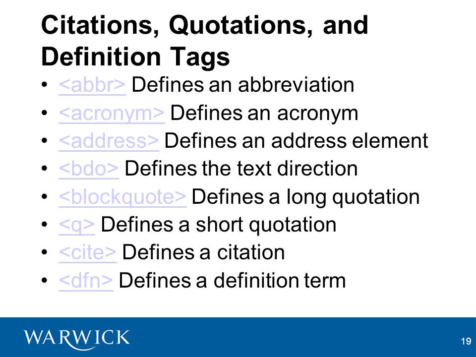 Citations, Quotations, and Definition Tags