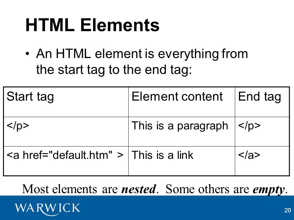 HTML Elements An HTML element is everything from the start tag to the end tag: Start tag. Element content.