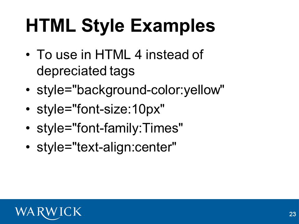 HTML Style Examples To use in HTML 4 instead of depreciated tags