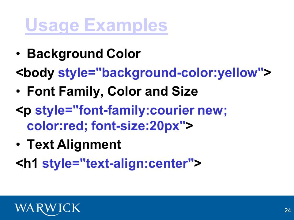 Usage Examples Background Color