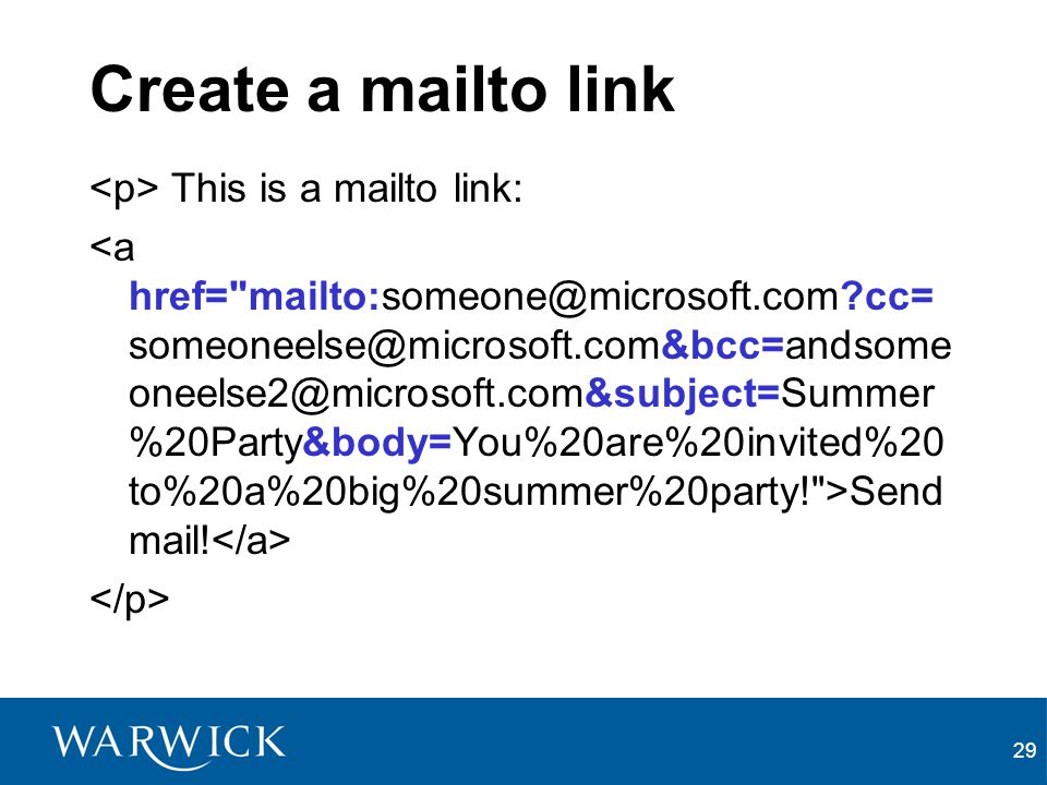 Create a mailto link <p> This is a mailto link: