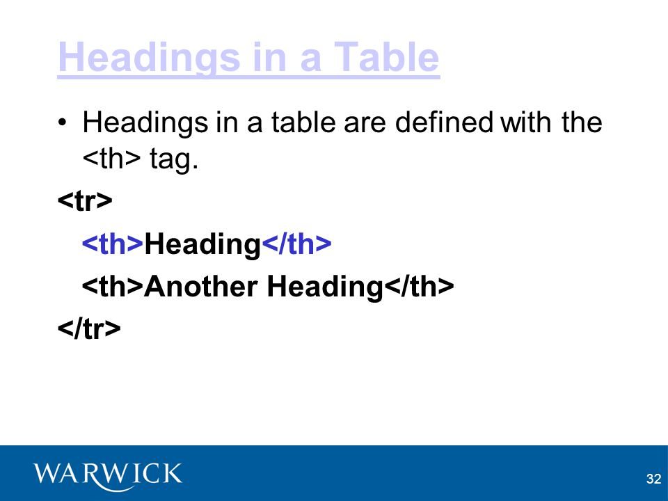 Headings in a Table Headings in a table are defined with the <th> tag. <tr> <th>Heading</th> <th>Another Heading</th>