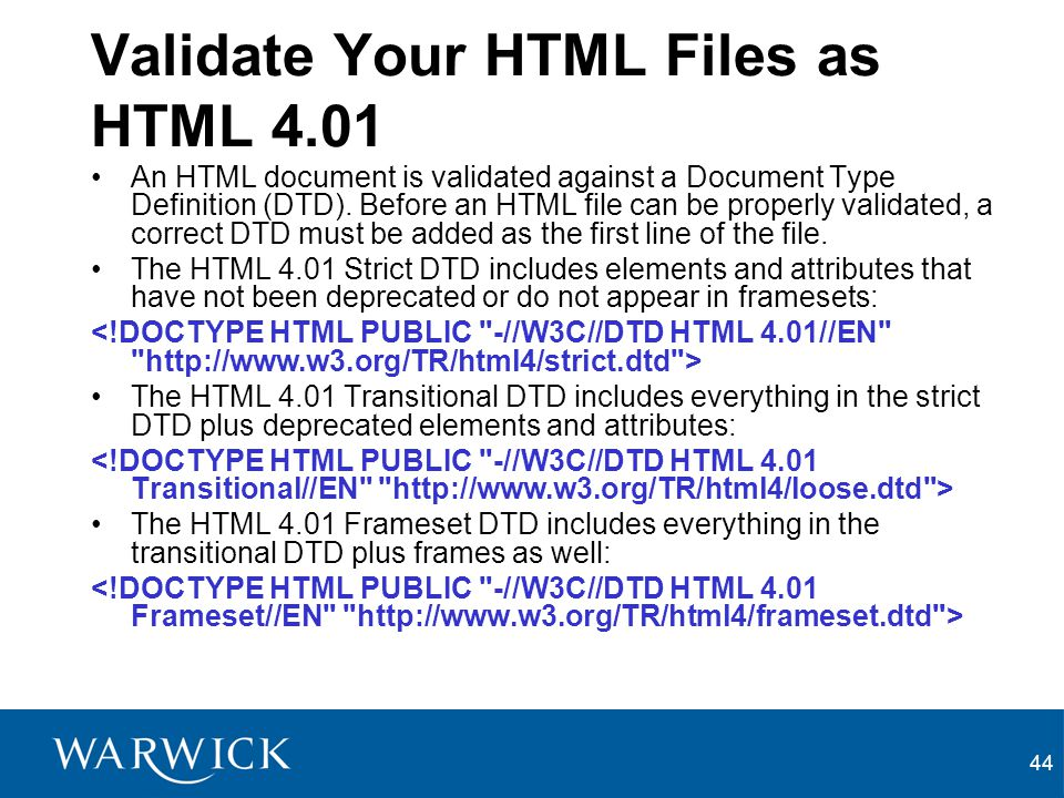 Validate Your HTML Files as HTML 4.01