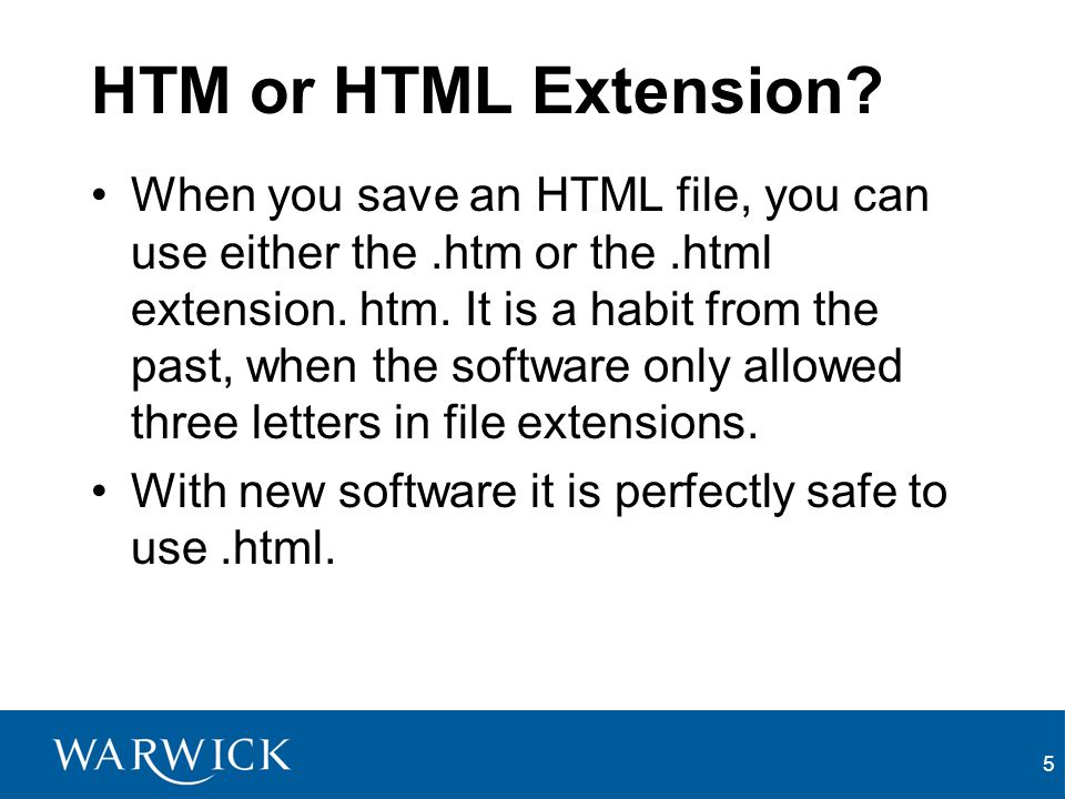HTM or HTML Extension