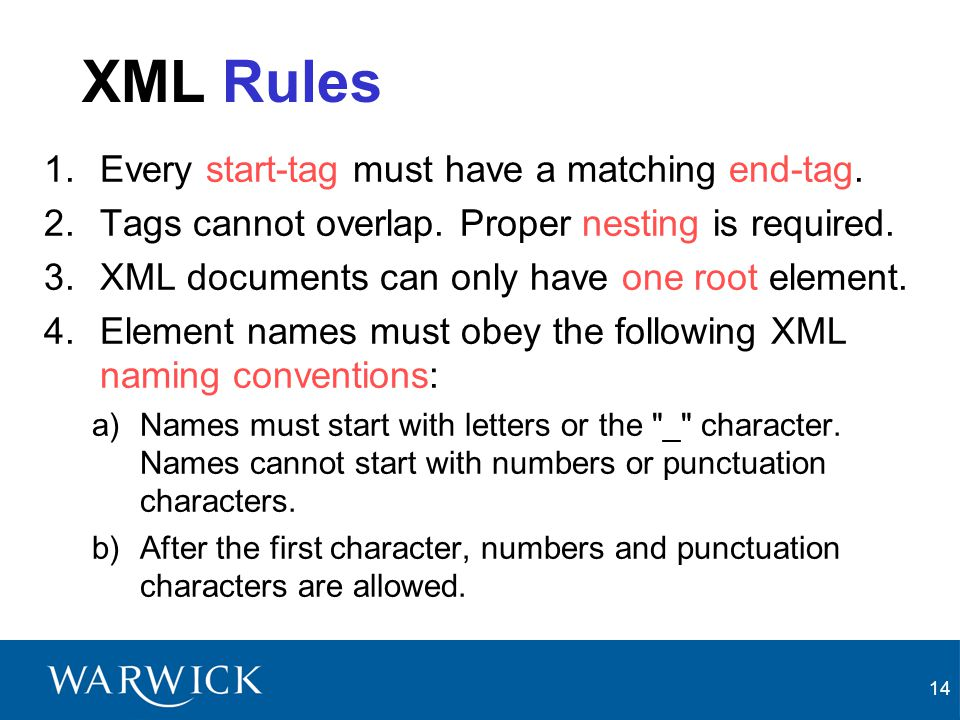 XML Rules Every start-tag must have a matching end-tag.
